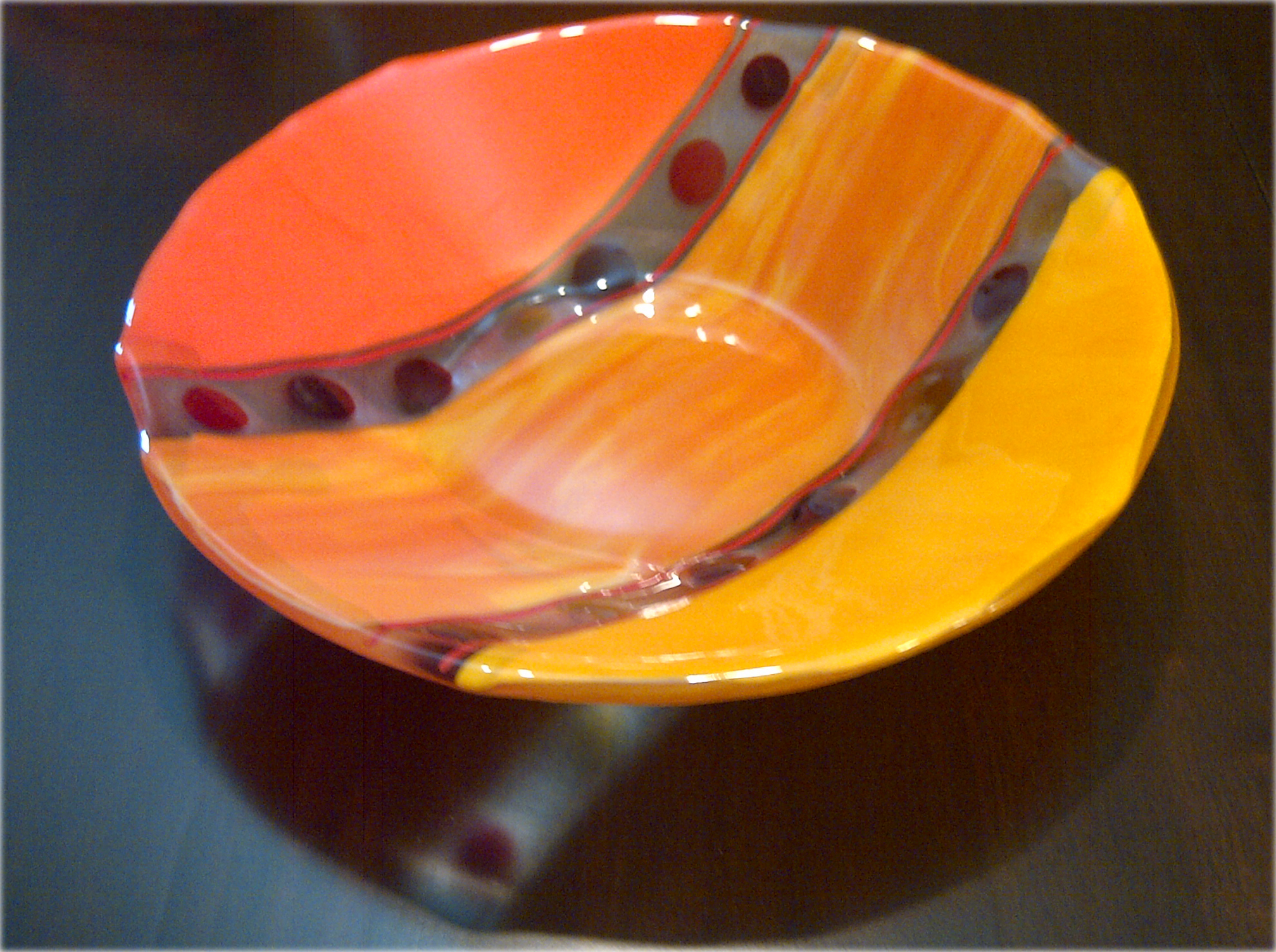 Fused Glass Serving Bowl